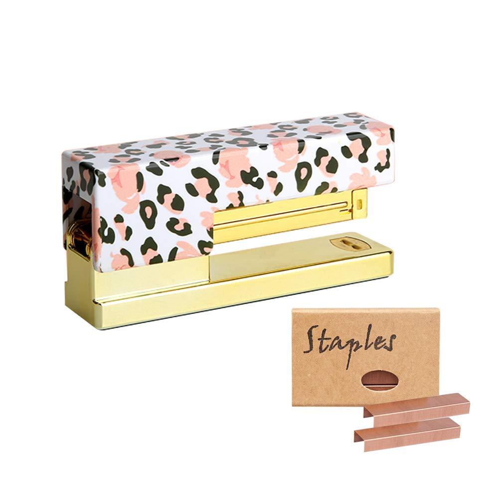 Multibey Gold Handheld Stapler for Desk, Leopard Flower Print Cover Metallic Rod with 950PCS 26/6 24/6 Standard Size Rose Gold Staples Set for Office School Home