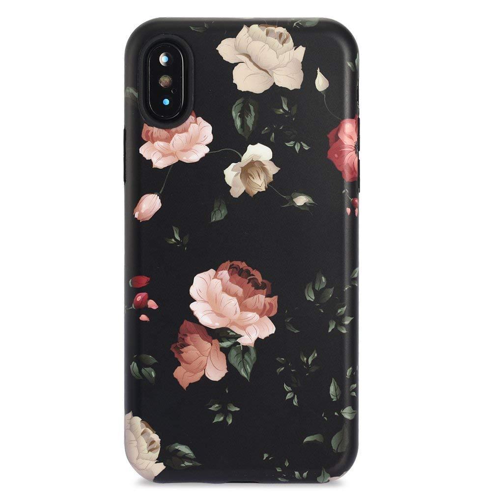 GOLINK iPhone X Case/iPhone Xs Case, Floral Series Slim-Fit Ultra-Thin Anti-Scratch Shock Proof Dust Proof Anti-Finger Print TPU Gel Case for iPhone X/iPhone Xs - Rose