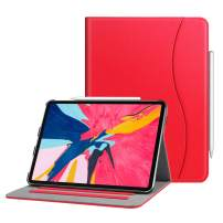 """Fintie Case for iPad Pro 11"""" 2018 [Supports 2nd Gen Pencil Charging Mode] - Multi Angle Viewing Folio Cover with Pocket [Secure Pencil Holder] Auto Sleep/Wake for iPad Pro 11 2018, Red"""