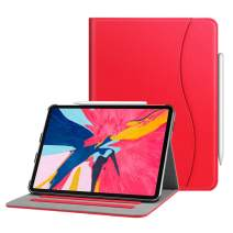 "Fintie Case for iPad Pro 11"" 2018 [Supports 2nd Gen Pencil Charging Mode] - Multi Angle Viewing Folio Cover with Pocket [Secure Pencil Holder] Auto Sleep/Wake for iPad Pro 11 2018, Red"