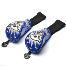 GOOACTION 2PCS Skull Golf Club Hybrid Headcovers Synthetic Crystal Leather Utility Head Covers Protector Set with Interchangeable Number Tag 2,3,4,5,6,UT
