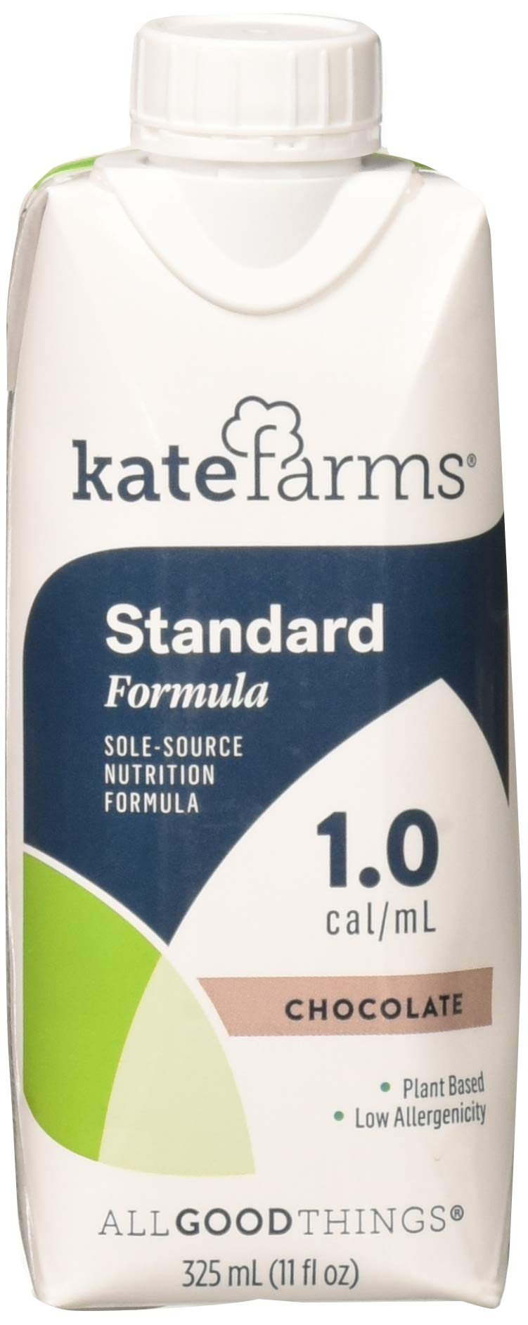 Kate Farms Standard 1.0 Chocolate Meal Replacement Formula Drink, Dairy, Soy, and Gluten-Free, Essential Vitamins, Organic Plant-Based Protein for Oral, Tube Fed, 11 Fluid Ounces (Case of 12)