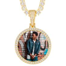 YIMERAIRE Hip Hop Jewelry Custom Tennis Necklace with Picture Personalized Photo Necklaces for Women Men Round Pendant Necklace