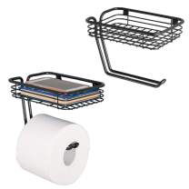 mDesign Toilet Tissue Paper Holder and Multi-Purpose Shelf - Wall Mount Storage Organizer for Bathroom, Holds 1 Mega Rolls - Durable Metal Wire Design - 2 Pack - Matte Black