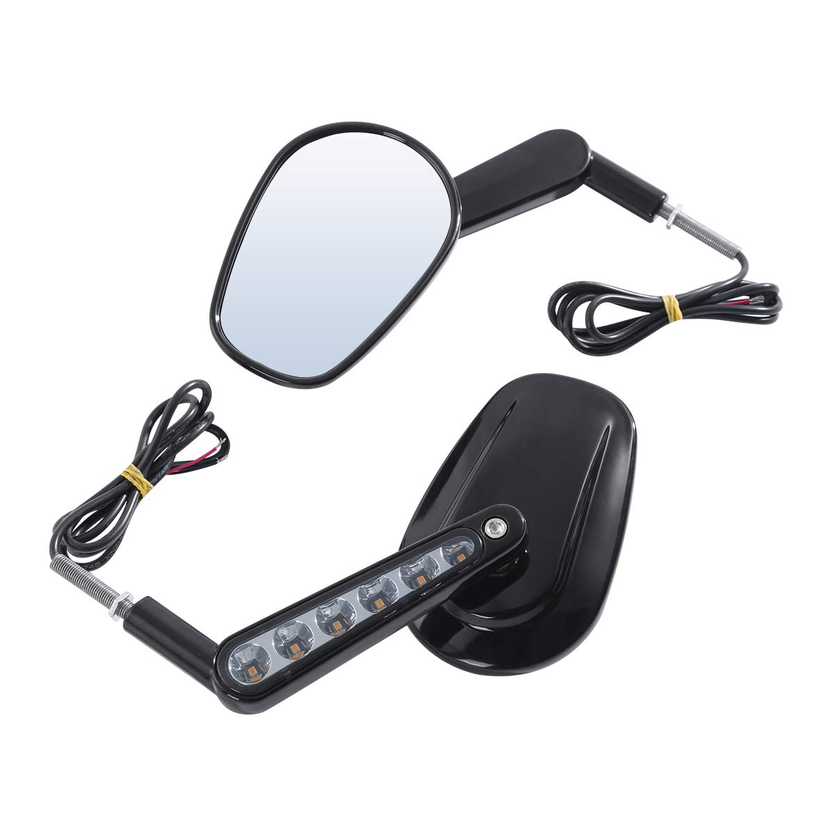 Green-L Pair Black Rear View Mirrors Muscle LED Turn Signals Light Fit for Harley V-ROD VRSCF 2009-2017