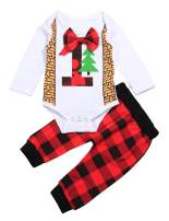 Newborn Baby Christmas Outfits Set 1st Bow Tie Romper and Plaid Pants Clothes