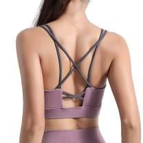 LUREME Running Sports Bra Strappy Padded Workout Yoga Tops Bra for Women (sb000006)