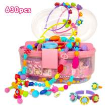 Pop Beads, Jewelry Making Kit for Girls, Art and Craft Toys Gift, DIY Bracelets Necklace Hairband and Rings Creativity Set for Kids Age 3 4 5 6 7 8 Year Old (630pcs)