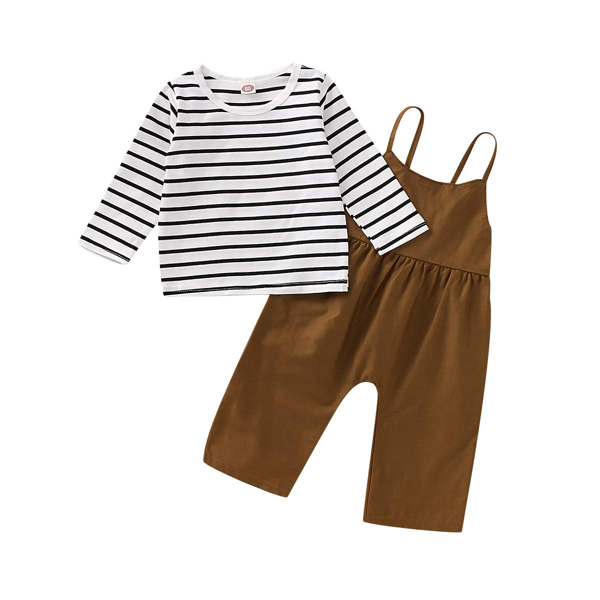 Toddler Baby Girl Pants Sets Stripe Short Sleeve Top + Loose Overalls Summer Outfits 2Pcs Clothes