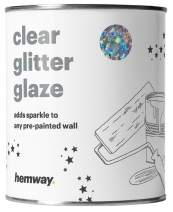 Hemway 1L Clear Glitter Paint Glaze for Pre-Painted Walls Acrylic, Latex, Emulsion, Ceiling, Wood, Varnish, Dead Flat, Matte, Soft Sheen or Silk (34 Variations) (Silver Holographic Stars & Moons)