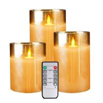 Flameless Led Candles Flickering, Yinuo Candle Real Wax Fake Wick Moving Flame Faux Wickless Pillar Battery Operated Candles with Timer Remote Glass Effect for Festival Wedding Home Party Decor