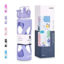 Koodee 22 oz glass water bottle with one -touch flip lid and protective silicone sleeve (Light purple, 22 oz)