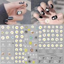4 Sheets Daisy Nail Art Stickers Luxury Designer Nail Art Supplies 3D Self-Adhesive Nail Decals Chrysanthemum Smiley Flower Designs Sticker for Woman Girls Manicure Tips Nail Decorations Kit