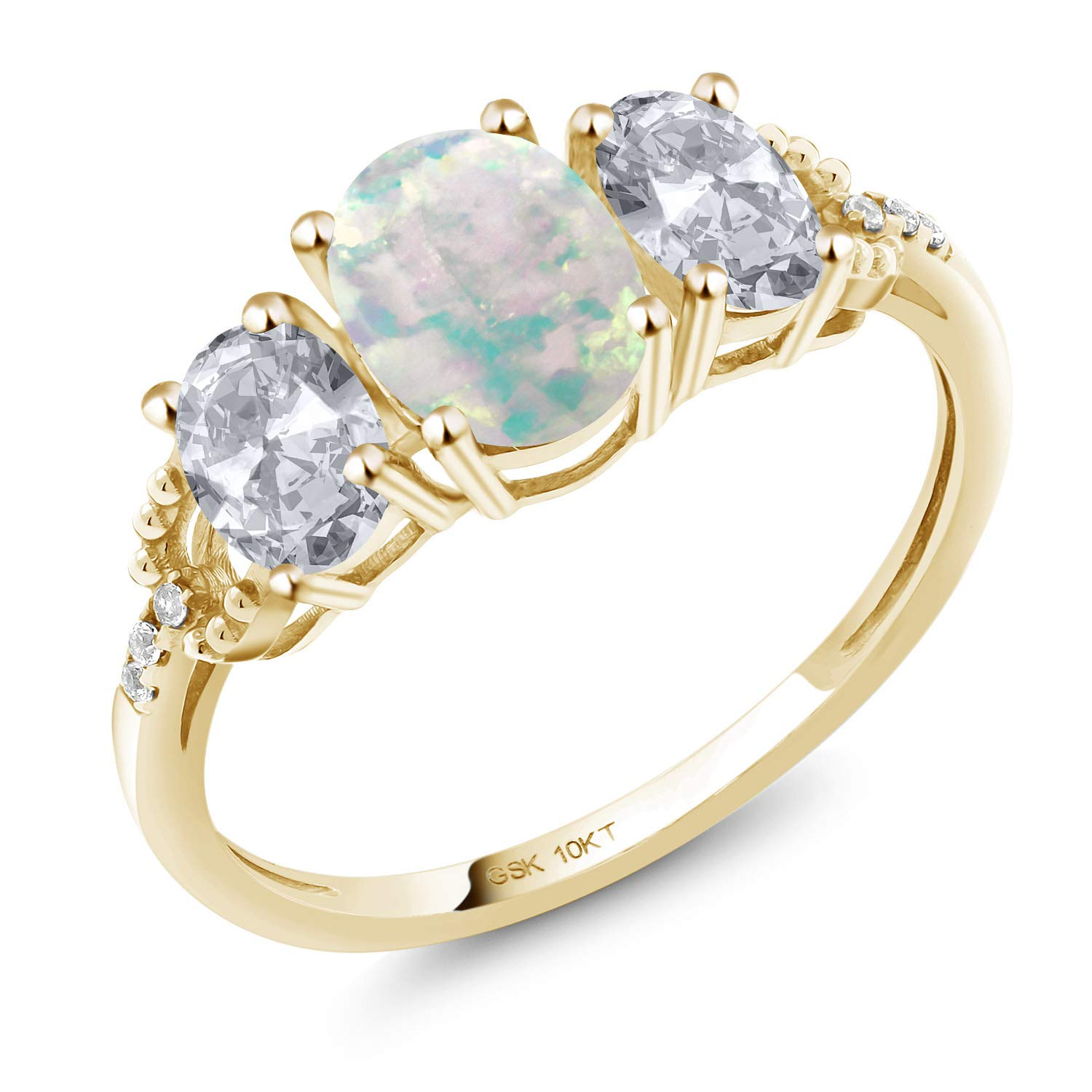 Gem Stone King 10K Yellow Gold Engagement Ring 2.22 Ct Oval Cabochon White Simulated Opal White Topaz