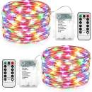 DooVee Easter String Lights, 2 Packs 33ft 100 LED Battery Fairy Lights with Remote Control & Timer Waterproof Firefly Lights for Garden Patio Indoor Outdoor Decorations - Multicolor