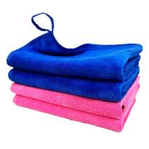 Qisuma 4 Pack Thickening Microfiber Cleaning Cloth, All-Purpose Cleaning Towels, Reusable Rag, Dish Cloths for Kitchen, Windows, Cars, House Furniture, Glasses Microfiber Towels, (Pink and Blue)¡