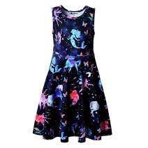 VIKITA Girls Summer Pink Heart Print Sundress Short Sleeve Casual Cotton Dress