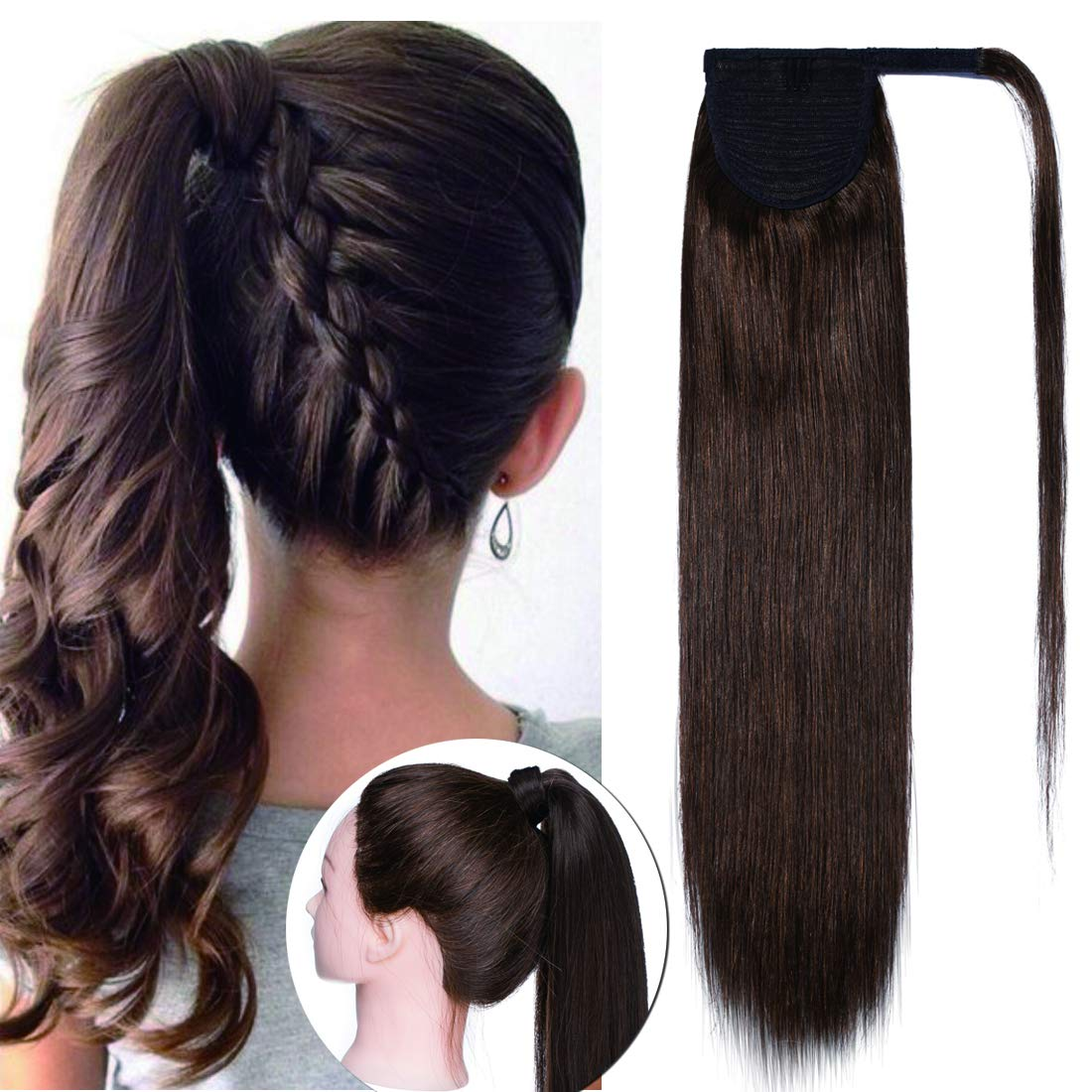 SEGO Ponytail Extension Human Hair Pony Tails Hair Extensions Wrap Around Ponytail Hair Extensions 100% Real Remy Hair With Magic Paste Long Straight For Women #04 Medium Brown 16 Inch 80g
