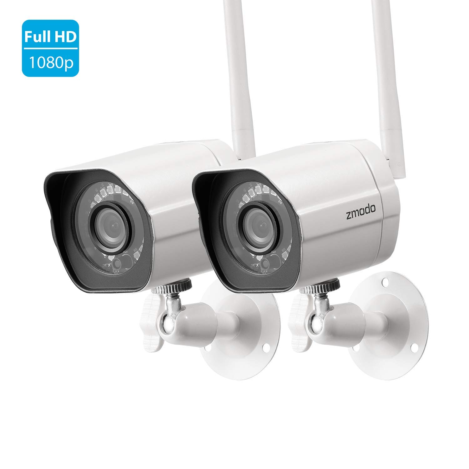 Zmodo 1080p Full HD Outdoor Wireless Security Camera System, 2 Pack Smart Home Indoor Outdoor WiFi IP Cameras with Night Vision, Compatible with Alexa