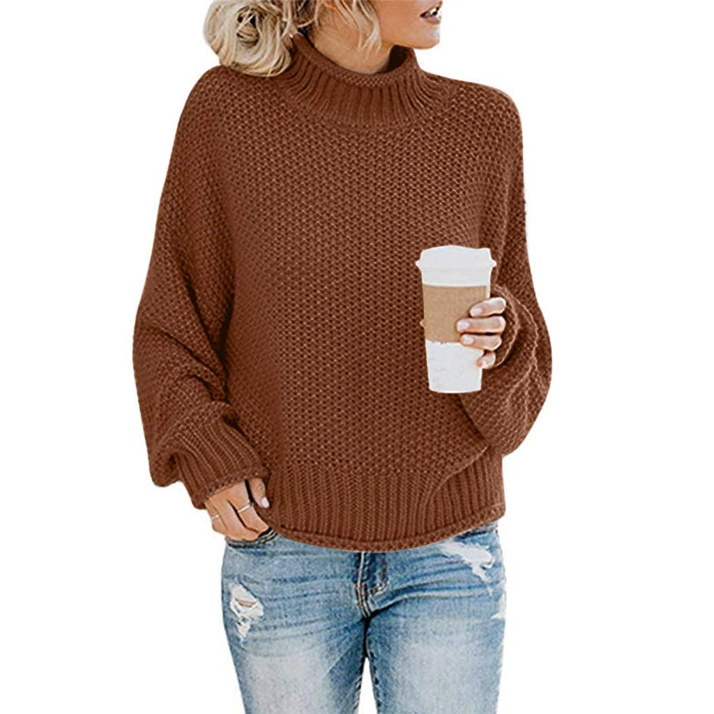 ZEFOTIM Womens Turtleneck Sweaters Oversized Chunky Batwing Long Sleeve Pullover Loose Knitted Jumper Top