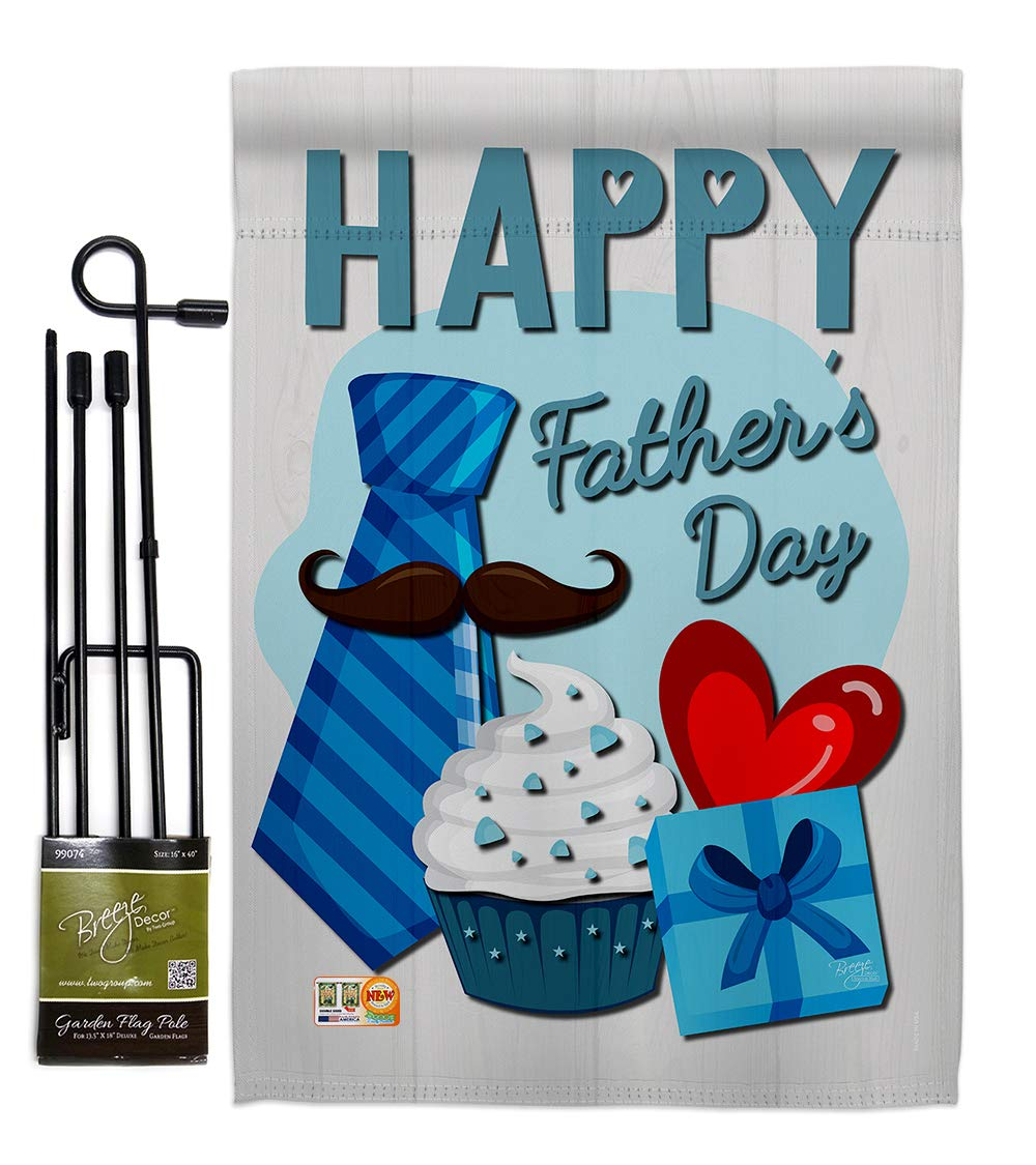 Father's Day Happy Garden Flag Set with Stand Family Dad Daddy Papa Grandpa Best Parent Sibling Relatives Grandparent Small Decorative Gift Yard House Banner Double-Sided Made In USA 13 X 18.5