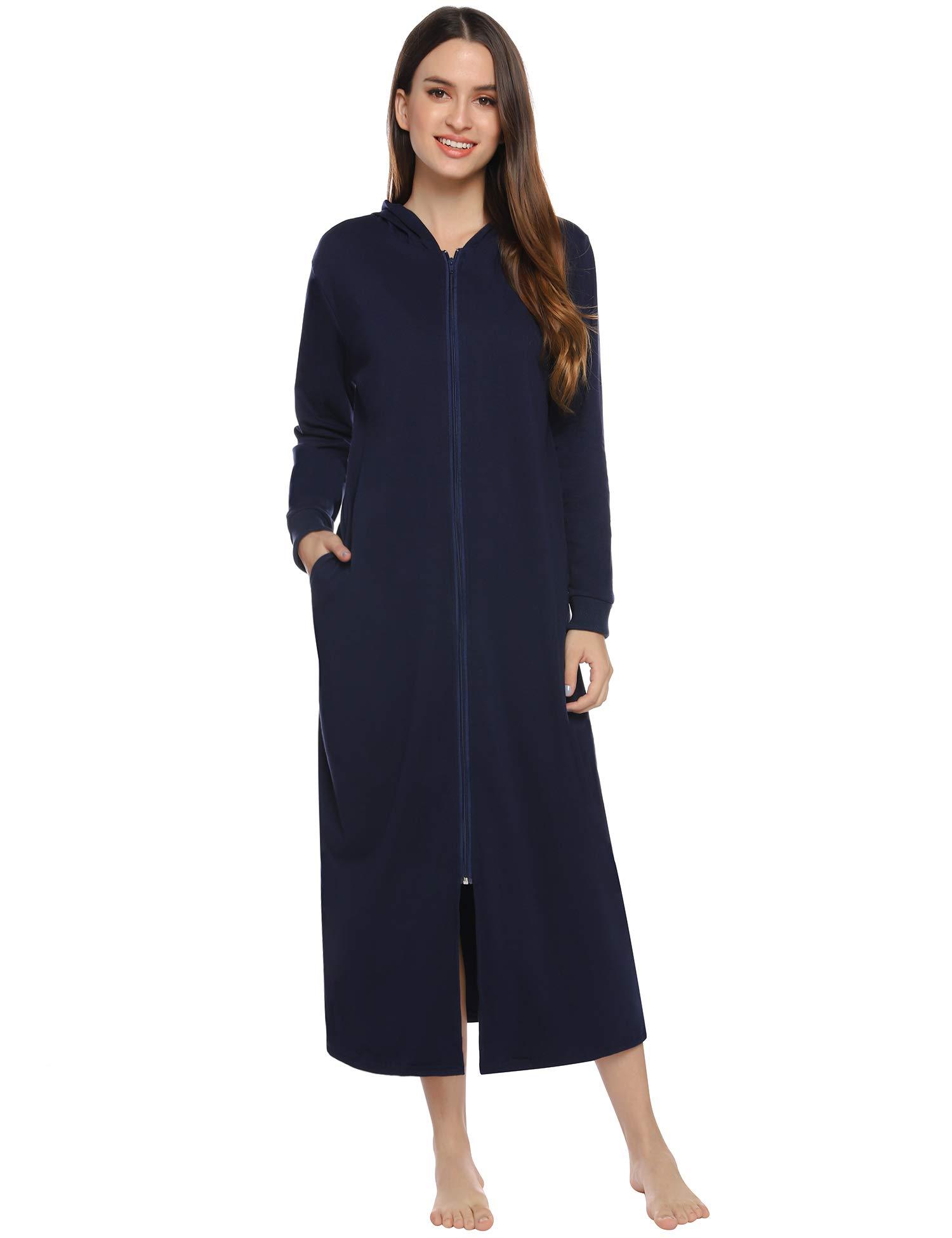 iClosam Womens Hooded Zipper Bathrobe Spring-Fall Robes with Pockets Housecoat Nightgown Sleepwear Loungewear S-XXL