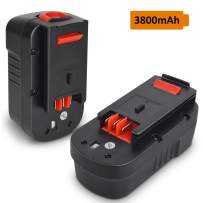 2 Pack HPB18 3.8Ah Ni-Mh Battery Black and Decker 18V Battery Replacement for HPB18 HPB18-OPE 244760-00 A1718 FS18FL FSB18 Firestorm Batteries for All B&D 18V Battery Replacement