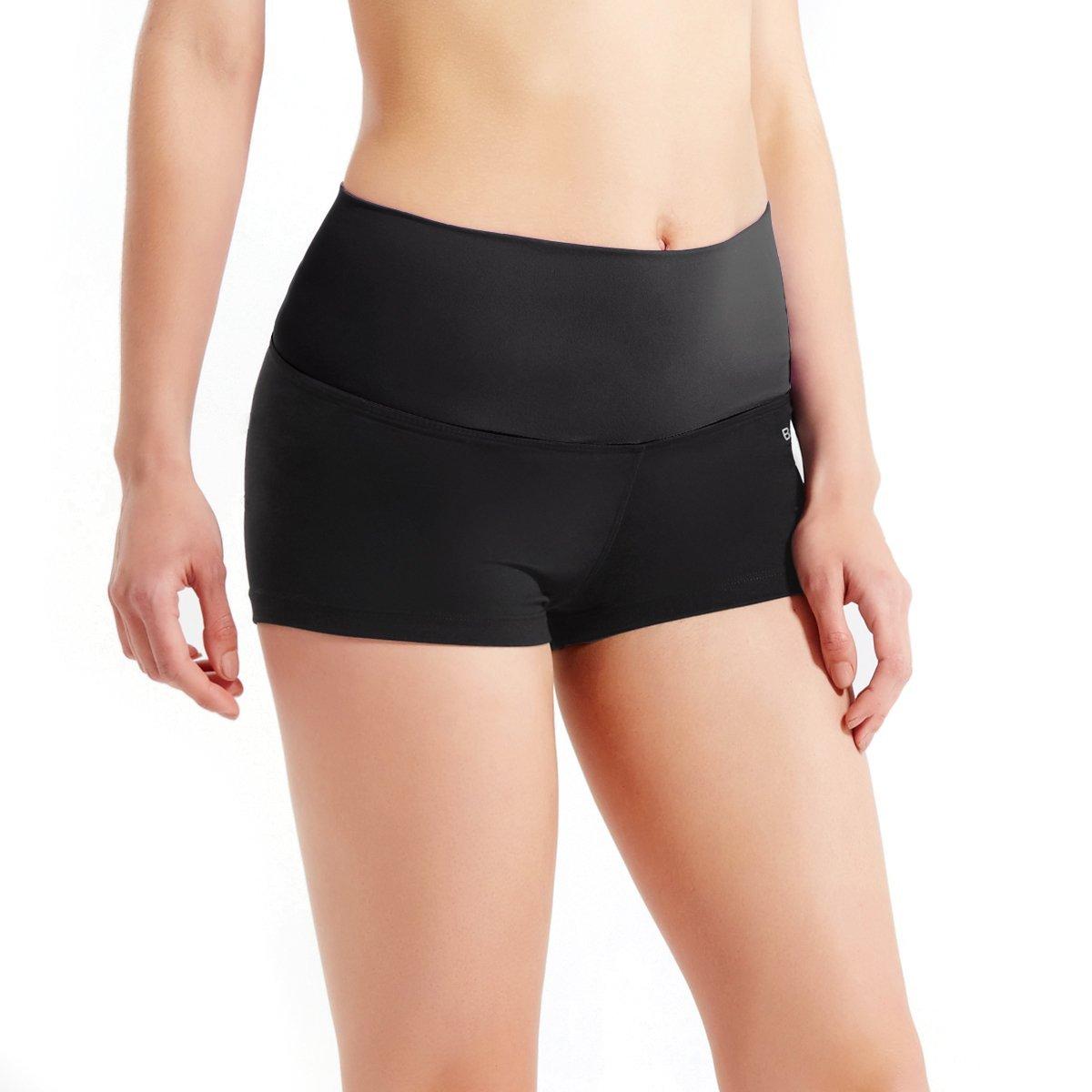 BALEAF Women's High Waisted Seamless Yoga Shorts Stretch Workout Athletic Hiking Shorts Back Pocket Navy Size L