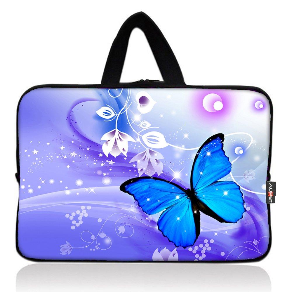 AUPET Blue Butterfly Universal 7~8 inch Tablet Portable Neoprene Zipper Carrying Sleeve Case Bag