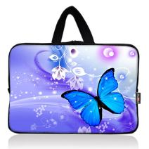 AUPET Blue Butterfly Universal 7~8 inch Tablet Portable Neoprene Zipper Carrying Sleeve Case Bag
