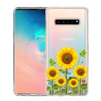 Unov Galaxy S10 5G Case Clear with Design Soft TPU Shock Absorption Embossed Floral Pattern Slim Protective Back Cover for Galaxy S10 5G Version 6.7inch (Sunflower Blossom)