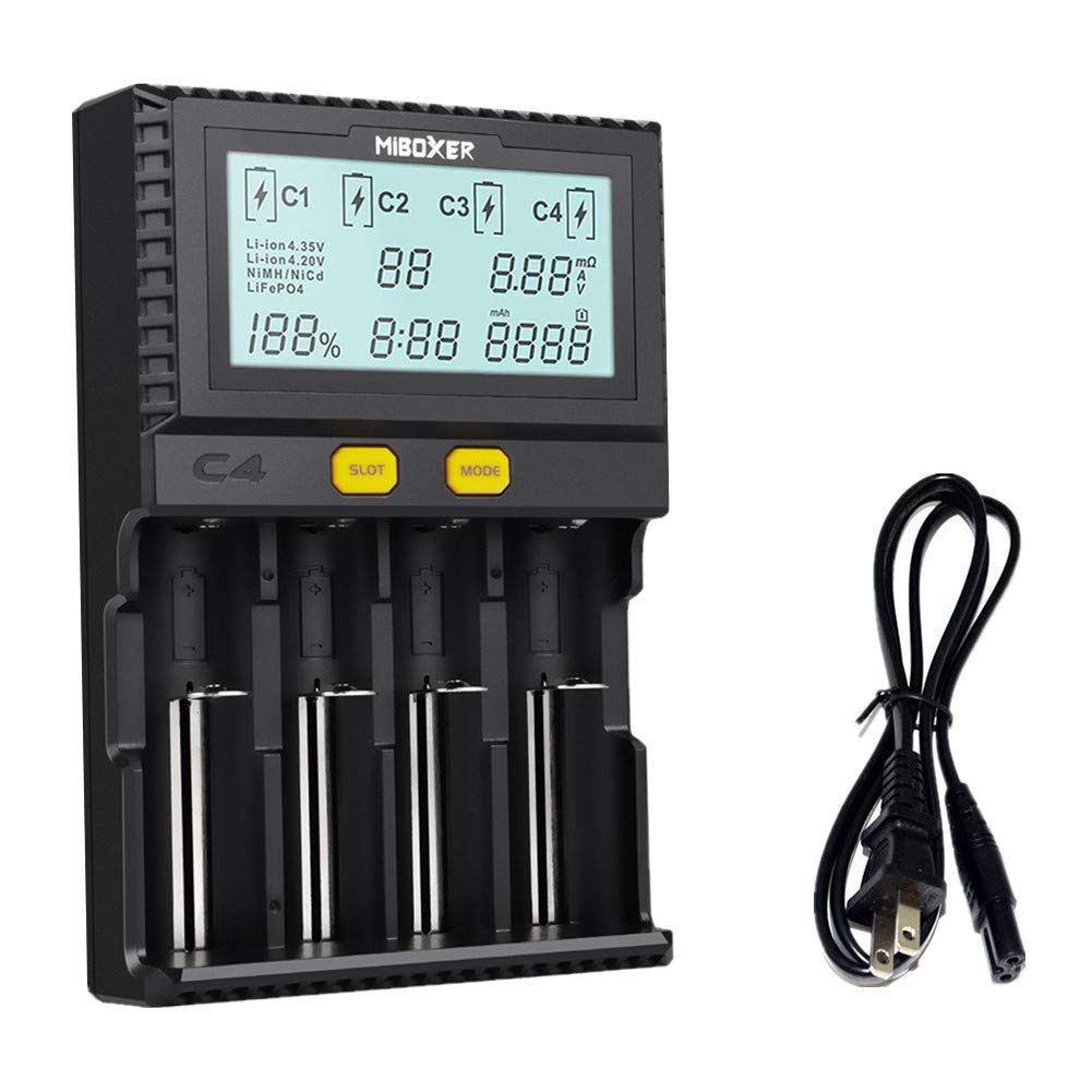 Miboxer 18650 Battery Charger for Rechargeable AA Batteries AAA IMR 20700 21700 26650 Lifepo4 Ni-MH Intellicharger, 4 Bay