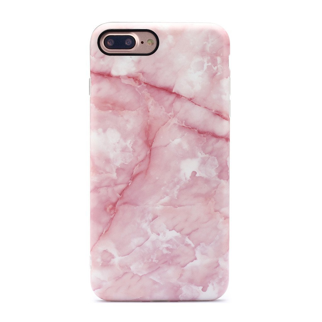 GOLINK iPhone 7 Plus Case/iPhone 8 Plus Marble Case, Matte Marble Series Slim-Fit Anti-Scratch Shock Proof Anti-Finger Print Flexible TPU Gel Case for iPhone 7/8 Plus - Pink Marble