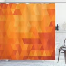"Ambesonne Orange Shower Curtain, Triangle Mosaic Shapes and Patterns with Abstract Digital Pixel Like Effect Print, Cloth Fabric Bathroom Decor Set with Hooks, 70"" Long, Burnt Orange"