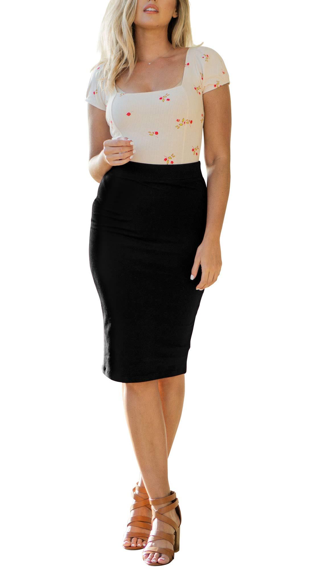 NioBe Clothing Women's High Waist Bodycon Midi Cotton Fitted Pencil Skirt