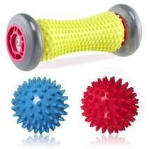 URONNFIT Foot Massager Roller Plantar Fasciitis - Spiky Massage Ball for Feed, Stress Relief, Heel Foot Arch Pain, Deep Tissue, Body Back Massage (1 Gray Roller+2 Balls)