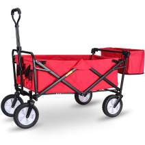 """WHITSUNDAY Collapsible Folding Garden Outdoor Park Utility Wagon Picnic Camping Cart with Replaceable Cover (Standard Size 8"""" Wheels with Rear Storage, Red)"""