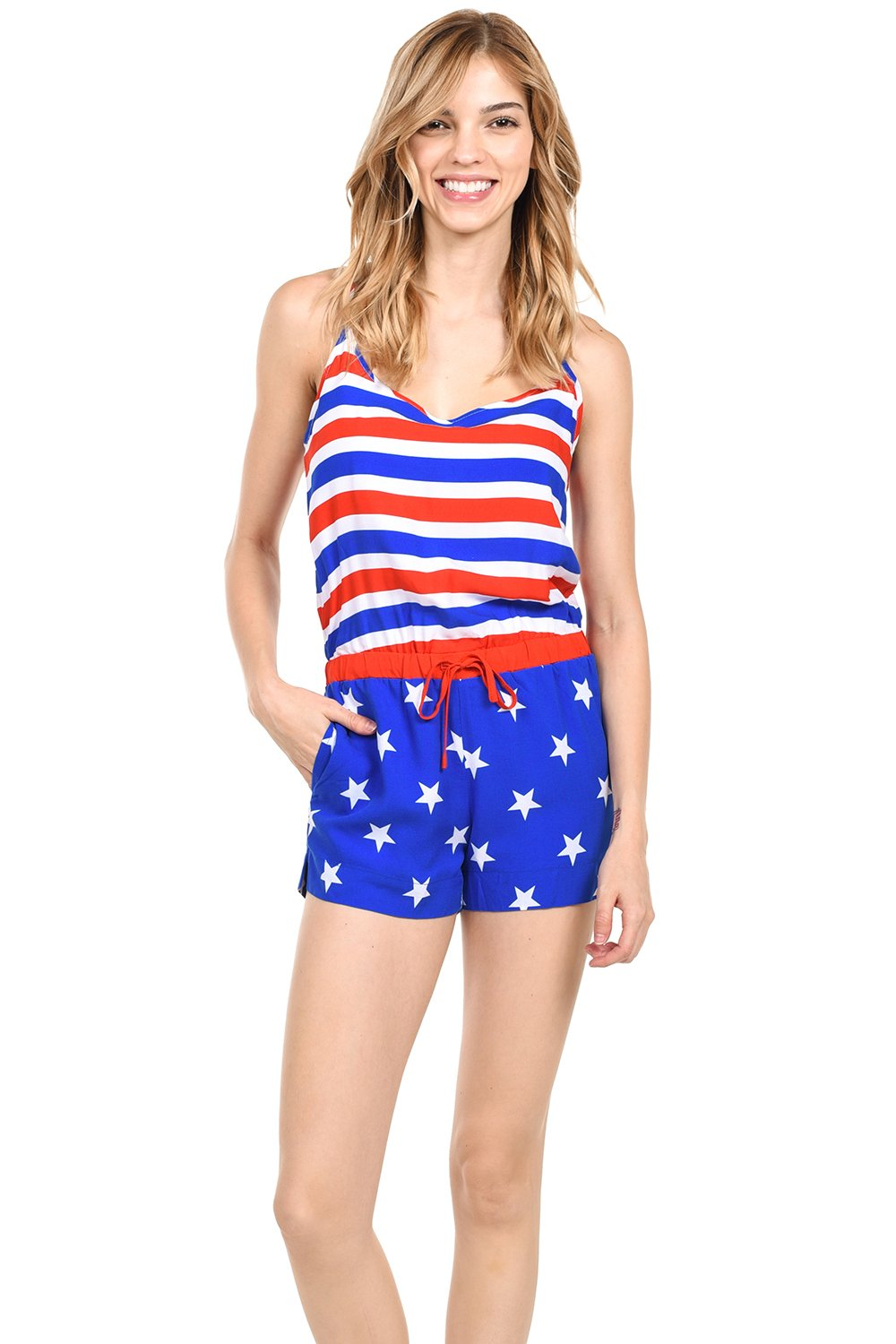 Tipsy Elves Women's Patriotic American Flag Romper Dress