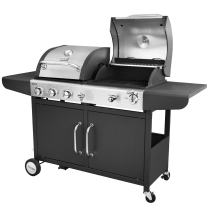 Royal Gourmet ZH3002 3-Burner Cabinet Gas Grill and Charcoal Grill Combo, Black