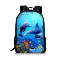 LedBack Sea Animals Dolphin Printed School Backpack for Kids Lightweight Travel Daypack