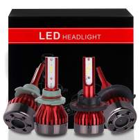 ECCPP 9005+H13 LED Headlight Bulb Super Bright Cree White Auto Headlamp Conversion Kit High Low Beam - 19200Lm 160W 6000K Focus Light - 5 Years Warranty(Pack of 4)