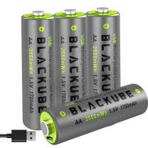 Blackube 4A High Out Put & High Capacity 1700mAh-USB Rechargeable AA Batteries - Double A Lithium/Li-ion Battery Constant 1.5V for Better Compatibility - Quick Charge with 2 Hours(4-Pack AA)