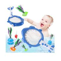 sesil Baby Bath Toys for Toddlers Boys Girls Bathtub Basketball Hoop & Fishing Net with Strong Suctions Cups and Floating Bath Sea Animal Preschool Early Education Shark Fishing Net Toy Set