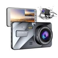 【Upgraded 720P Rear】 Jeemak Dual Dash Cam 4 Inches LCD 1080P Dashboard Camera with Night Vision Waterproof Backup Camera G-Sensor Parking Monitor