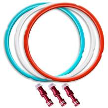 8QT Silicone Sealing Ring 3 Pack with 3 Float Valves, Savory Sky Blue & Sweet Cherry Red & Common Transparent White …