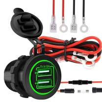 4.8A 12V/24V Dual USB Charger Socket Power Outlet for Car Boat Marine Mobile with Wire Fuse(Green)