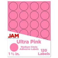 JAM PAPER Circle Label Sticker Seals - 1 2/3 Inch Diameter - Ultra Pink - 120 Round Labels/Pack