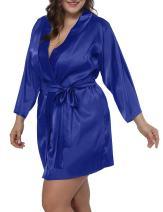 Allegrace Women Plus Size Satin Wrap Front Kimono Robes Short Pajamas with Belt