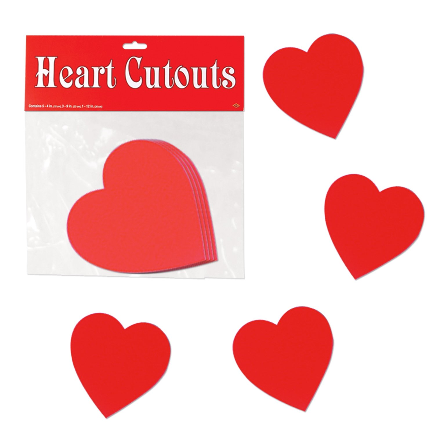 "Beistle 77840 Printed Heart Cutouts, 4"", Red, 10 Piece Pack"