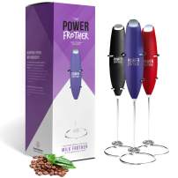 Milk Frother - Purple Power Frother by Omega PowerCreamer - Ultra Durable Electric Handheld - Battery Operated for Coffee, Protein Powder, Collagen, Pre-Workout - Quiet & High Powered - Stand Included